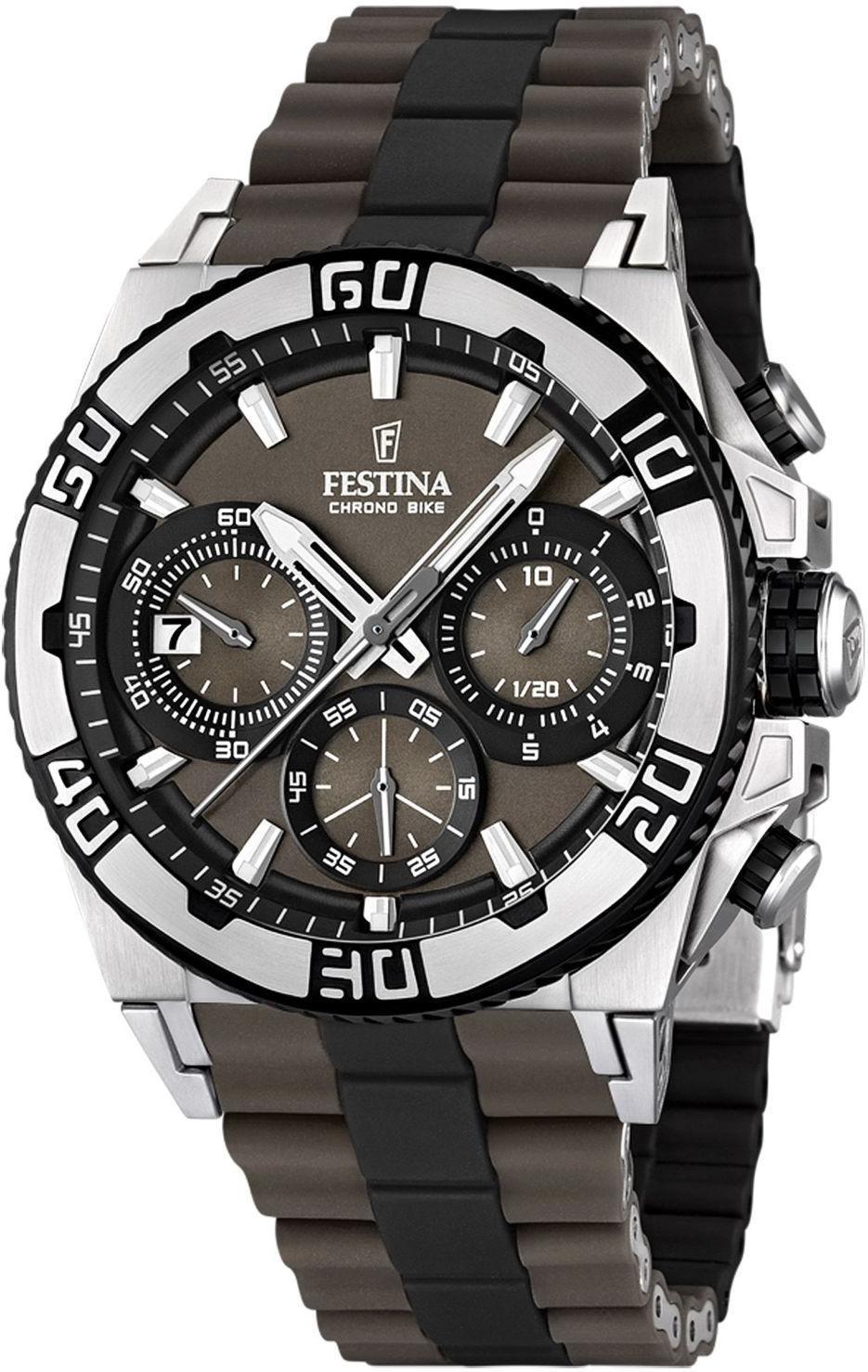 Festina F16659.4 - мужские наручные часы из коллекции Chrono BikeFestina<br><br><br>Бренд: Festina<br>Модель: Festina F16659/4<br>Артикул: F16659.4<br>Вариант артикула: None<br>Коллекция: Chrono Bike<br>Подколлекция: None<br>Страна: Испания<br>Пол: мужские<br>Тип механизма: кварцевые<br>Механизм: M6S20<br>Количество камней: None<br>Автоподзавод: None<br>Источник энергии: от батарейки<br>Срок службы элемента питания: None<br>Дисплей: стрелки<br>Цифры: отсутствуют<br>Водозащита: WR 100<br>Противоударные: None<br>Материал корпуса: нерж. сталь, PVD покрытие (частичное)<br>Материал браслета: нерж. сталь + силикон<br>Материал безеля: None<br>Стекло: минеральное<br>Антибликовое покрытие: None<br>Цвет корпуса: None<br>Цвет браслета: None<br>Цвет циферблата: None<br>Цвет безеля: None<br>Размеры: 44.5x14 мм<br>Диаметр: None<br>Диаметр корпуса: None<br>Толщина: None<br>Ширина ремешка: None<br>Вес: 155 г<br>Спорт-функции: секундомер<br>Подсветка: стрелок<br>Вставка: None<br>Отображение даты: число<br>Хронограф: есть<br>Таймер: None<br>Термометр: None<br>Хронометр: None<br>GPS: None<br>Радиосинхронизация: None<br>Барометр: None<br>Скелетон: None<br>Дополнительная информация: None<br>Дополнительные функции: None