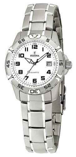 Festina F16172.8 - женские наручные часы из коллекции SportFestina<br><br><br>Бренд: Festina<br>Модель: Festina F16172/8<br>Артикул: F16172.8<br>Вариант артикула: None<br>Коллекция: Sport<br>Подколлекция: None<br>Страна: Испания<br>Пол: женские<br>Тип механизма: кварцевые<br>Механизм: None<br>Количество камней: None<br>Автоподзавод: None<br>Источник энергии: от батарейки<br>Срок службы элемента питания: None<br>Дисплей: стрелки<br>Цифры: арабские<br>Водозащита: WR 100<br>Противоударные: None<br>Материал корпуса: нерж. сталь<br>Материал браслета: не указан<br>Материал безеля: None<br>Стекло: минеральное<br>Антибликовое покрытие: None<br>Цвет корпуса: None<br>Цвет браслета: None<br>Цвет циферблата: None<br>Цвет безеля: None<br>Размеры: 30 мм<br>Диаметр: None<br>Диаметр корпуса: None<br>Толщина: None<br>Ширина ремешка: None<br>Вес: None<br>Спорт-функции: None<br>Подсветка: стрелок<br>Вставка: None<br>Отображение даты: число<br>Хронограф: None<br>Таймер: None<br>Термометр: None<br>Хронометр: None<br>GPS: None<br>Радиосинхронизация: None<br>Барометр: None<br>Скелетон: None<br>Дополнительная информация: None<br>Дополнительные функции: None