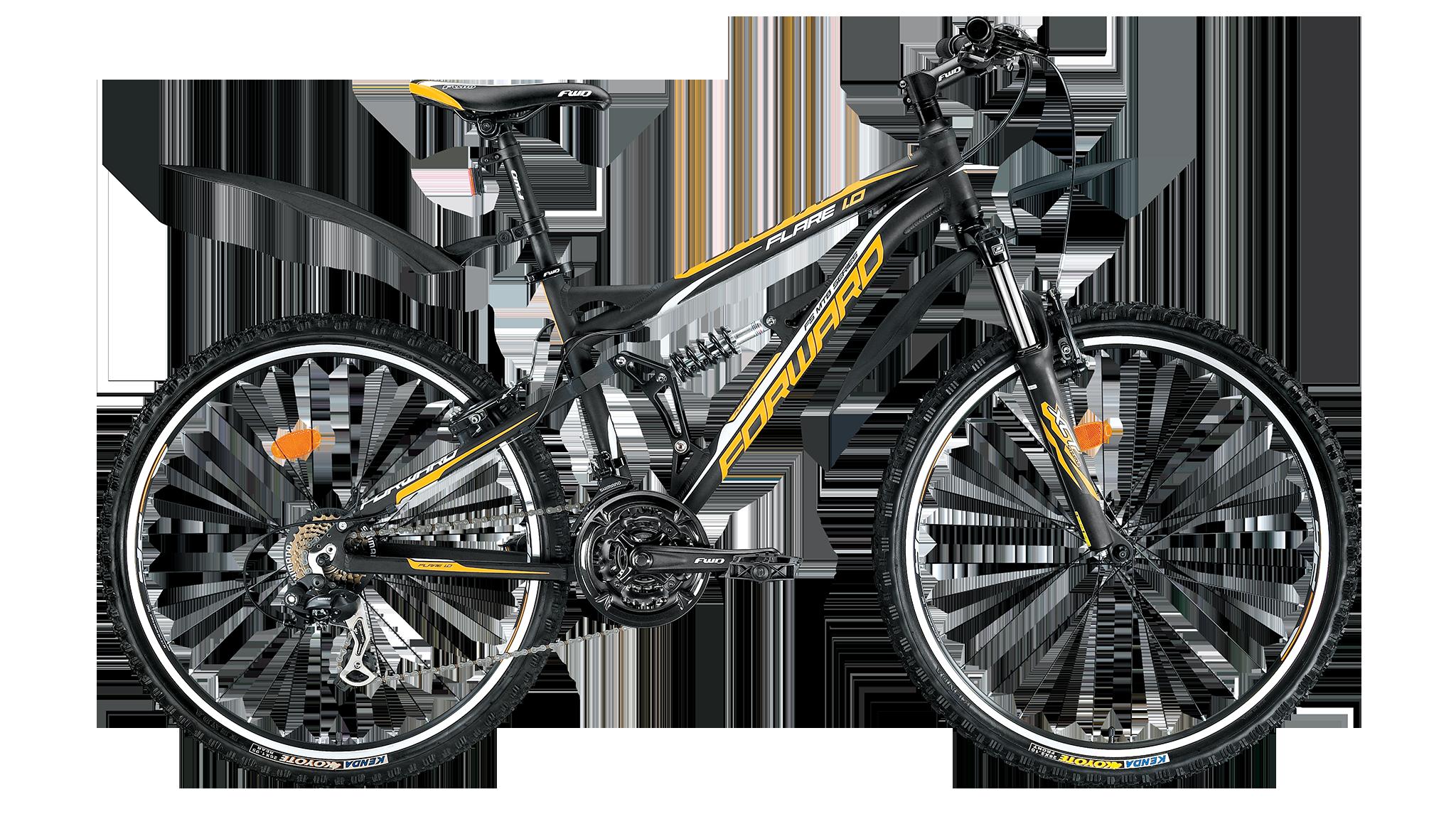 Forward Flare 1.0 (2014)Горные<br>Двухподвесный горный велосипед FORWARD FLARE 1.0 (2014) создан для катания по пересечённой местности. Алюминиевая рама велосипеда обладает высокой прочностью, а также малым весом, что немаловажно для велосипедов данного типа. На велосипеде установлены ободные тормоза V-Brake - такие тормоза обладают высокой эффективностью и ремонтопригодностью.<br>Подвеска на этом велосипеде однорычажная, что повышает удобство и безопасность катания по большим неровностям. Задний и передний переключатели и 21 скоростной режим обеспечат грамотное распределение нагрузки как при спуске, так и при подъёме в горку. Колёса этого велосипеда собраны на базе лёгких и прочных двойных ободов диаметром 26 дюймов. Велосипед укомплектован крыльями, служащими для защиты велосипедиста от воды и грязи.<br>