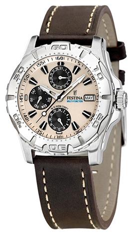 Festina F16243.2 - мужские наручные часы из коллекции MultifunctionFestina<br><br><br>Бренд: Festina<br>Модель: Festina F16243/2<br>Артикул: F16243.2<br>Вариант артикула: None<br>Коллекция: Multifunction<br>Подколлекция: None<br>Страна: Испания<br>Пол: мужские<br>Тип механизма: кварцевые<br>Механизм: None<br>Количество камней: None<br>Автоподзавод: None<br>Источник энергии: от батарейки<br>Срок службы элемента питания: None<br>Дисплей: стрелки<br>Цифры: отсутствуют<br>Водозащита: WR 100<br>Противоударные: None<br>Материал корпуса: нерж. сталь<br>Материал браслета: кожа<br>Материал безеля: None<br>Стекло: минеральное<br>Антибликовое покрытие: None<br>Цвет корпуса: None<br>Цвет браслета: None<br>Цвет циферблата: None<br>Цвет безеля: None<br>Размеры: None<br>Диаметр: None<br>Диаметр корпуса: None<br>Толщина: None<br>Ширина ремешка: None<br>Вес: None<br>Спорт-функции: None<br>Подсветка: стрелок<br>Вставка: None<br>Отображение даты: число, месяц, день недели<br>Хронограф: None<br>Таймер: None<br>Термометр: None<br>Хронометр: None<br>GPS: None<br>Радиосинхронизация: None<br>Барометр: None<br>Скелетон: None<br>Дополнительная информация: None<br>Дополнительные функции: второй часовой пояс