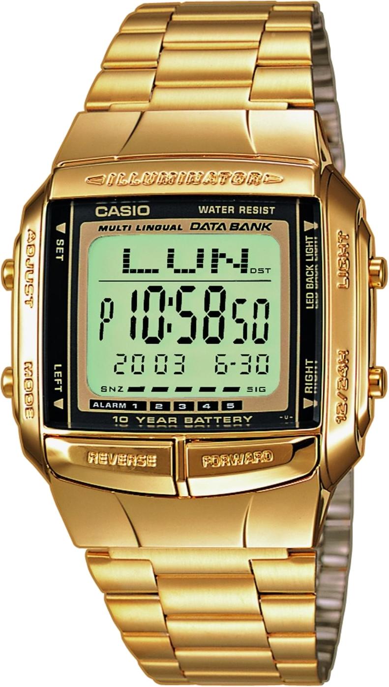 Casio Data Bank DB-360GN-9A / DB-360GN-9AER - мужские наручные часыCasio<br><br><br>Бренд: Casio<br>Модель: Casio DB-360GN-9A<br>Артикул: DB-360GN-9A<br>Вариант артикула: DB-360GN-9AER<br>Коллекция: Data Bank<br>Подколлекция: None<br>Страна: Япония<br>Пол: мужские<br>Тип механизма: кварцевые<br>Механизм: None<br>Количество камней: None<br>Автоподзавод: None<br>Источник энергии: от батарейки<br>Срок службы элемента питания: None<br>Дисплей: цифры<br>Цифры: None<br>Водозащита: WR 30<br>Противоударные: None<br>Материал корпуса: нерж. сталь + пластик, покрытие: позолота<br>Материал браслета: не указан, покрытие: позолота<br>Материал безеля: None<br>Стекло: пластиковое<br>Антибликовое покрытие: None<br>Цвет корпуса: None<br>Цвет браслета: None<br>Цвет циферблата: None<br>Цвет безеля: None<br>Размеры: 37.7x43.1x10.4 мм<br>Диаметр: None<br>Диаметр корпуса: None<br>Толщина: None<br>Ширина ремешка: None<br>Вес: 58 г<br>Спорт-функции: секундомер, таймер обратного отсчета<br>Подсветка: дисплея<br>Вставка: None<br>Отображение даты: вечный календарь, число<br>Хронограф: None<br>Таймер: None<br>Термометр: None<br>Хронометр: None<br>GPS: None<br>Радиосинхронизация: None<br>Барометр: None<br>Скелетон: None<br>Дополнительная информация: телефонная книга на 30 номеров, повтор сигнала будильника и ежечасный сигнал<br>Дополнительные функции: второй часовой пояс, будильник (количество установок: 5)