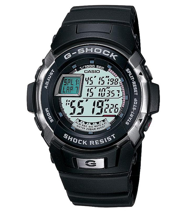 Casio G-SHOCK G-7700-1E / G-7700-1ER - мужские наручные часыCasio<br><br><br>Бренд: Casio<br>Модель: Casio G-7700-1E<br>Артикул: G-7700-1E<br>Вариант артикула: G-7700-1ER<br>Коллекция: G-SHOCK<br>Подколлекция: None<br>Страна: Япония<br>Пол: мужские<br>Тип механизма: кварцевые<br>Механизм: None<br>Количество камней: None<br>Автоподзавод: None<br>Источник энергии: от батарейки<br>Срок службы элемента питания: None<br>Дисплей: цифры<br>Цифры: None<br>Водозащита: WR 200<br>Противоударные: есть<br>Материал корпуса: нерж. сталь + пластик<br>Материал браслета: каучук<br>Материал безеля: None<br>Стекло: минеральное<br>Антибликовое покрытие: None<br>Цвет корпуса: None<br>Цвет браслета: None<br>Цвет циферблата: None<br>Цвет безеля: None<br>Размеры: 45.9x52.3x14.6 мм<br>Диаметр: None<br>Диаметр корпуса: None<br>Толщина: None<br>Ширина ремешка: None<br>Вес: 56 г<br>Спорт-функции: секундомер, таймер обратного отсчета<br>Подсветка: дисплея<br>Вставка: None<br>Отображение даты: вечный календарь, число, месяц, год, день недели<br>Хронограф: None<br>Таймер: None<br>Термометр: None<br>Хронометр: None<br>GPS: None<br>Радиосинхронизация: None<br>Барометр: None<br>Скелетон: None<br>Дополнительная информация: сигнал начала часа, повтор сигнала будильника<br>Дополнительные функции: второй часовой пояс, будильник (количество установок: 5)