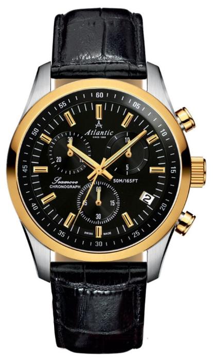 Atlantic 65451.43.61 - мужские наручные часы из коллекции SeamoveAtlantic<br><br><br>Бренд: Atlantic<br>Модель: Atlantic 65451.43.61<br>Артикул: 65451.43.61<br>Вариант артикула: None<br>Коллекция: Seamove<br>Подколлекция: None<br>Страна: Швейцария<br>Пол: мужские<br>Тип механизма: кварцевые<br>Механизм: ETA G10.211<br>Количество камней: None<br>Автоподзавод: None<br>Источник энергии: от батарейки<br>Срок службы элемента питания: None<br>Дисплей: стрелки<br>Цифры: отсутствуют<br>Водозащита: WR 50<br>Противоударные: None<br>Материал корпуса: нерж. сталь, PVD покрытие (частичное)<br>Материал браслета: кожа<br>Материал безеля: None<br>Стекло: сапфировое<br>Антибликовое покрытие: None<br>Цвет корпуса: None<br>Цвет браслета: None<br>Цвет циферблата: None<br>Цвет безеля: None<br>Размеры: 42 мм<br>Диаметр: None<br>Диаметр корпуса: None<br>Толщина: None<br>Ширина ремешка: None<br>Вес: None<br>Спорт-функции: секундомер<br>Подсветка: None<br>Вставка: None<br>Отображение даты: число<br>Хронограф: есть<br>Таймер: None<br>Термометр: None<br>Хронометр: None<br>GPS: None<br>Радиосинхронизация: None<br>Барометр: None<br>Скелетон: None<br>Дополнительная информация: None<br>Дополнительные функции: None