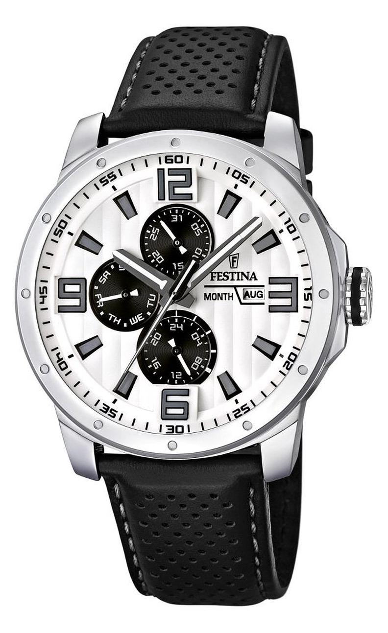 Festina F16585.5 - мужские наручные часы из коллекции MultifunctionFestina<br><br><br>Бренд: Festina<br>Модель: Festina F16585/5<br>Артикул: F16585.5<br>Вариант артикула: None<br>Коллекция: Multifunction<br>Подколлекция: None<br>Страна: Испания<br>Пол: мужские<br>Тип механизма: кварцевые<br>Механизм: None<br>Количество камней: None<br>Автоподзавод: None<br>Источник энергии: от батарейки<br>Срок службы элемента питания: None<br>Дисплей: стрелки<br>Цифры: арабские<br>Водозащита: WR 50<br>Противоударные: None<br>Материал корпуса: нерж. сталь<br>Материал браслета: кожа<br>Материал безеля: None<br>Стекло: минеральное<br>Антибликовое покрытие: None<br>Цвет корпуса: None<br>Цвет браслета: None<br>Цвет циферблата: None<br>Цвет безеля: None<br>Размеры: 45x11.4 мм<br>Диаметр: None<br>Диаметр корпуса: None<br>Толщина: None<br>Ширина ремешка: None<br>Вес: 82 г<br>Спорт-функции: None<br>Подсветка: стрелок<br>Вставка: None<br>Отображение даты: число, месяц, день недели<br>Хронограф: None<br>Таймер: None<br>Термометр: None<br>Хронометр: None<br>GPS: None<br>Радиосинхронизация: None<br>Барометр: None<br>Скелетон: None<br>Дополнительная информация: None<br>Дополнительные функции: второй часовой пояс