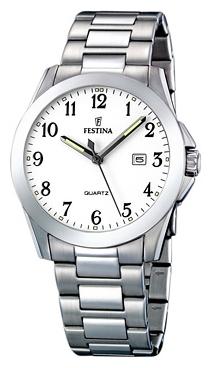 Festina F16376.1 - мужские наручные часы из коллекции ClassicFestina<br><br><br>Бренд: Festina<br>Модель: Festina F16376/1<br>Артикул: F16376.1<br>Вариант артикула: None<br>Коллекция: Classic<br>Подколлекция: None<br>Страна: Испания<br>Пол: мужские<br>Тип механизма: кварцевые<br>Механизм: None<br>Количество камней: None<br>Автоподзавод: None<br>Источник энергии: от батарейки<br>Срок службы элемента питания: None<br>Дисплей: стрелки<br>Цифры: арабские<br>Водозащита: WR 50<br>Противоударные: None<br>Материал корпуса: нерж. сталь<br>Материал браслета: не указан<br>Материал безеля: None<br>Стекло: минеральное<br>Антибликовое покрытие: None<br>Цвет корпуса: None<br>Цвет браслета: None<br>Цвет циферблата: None<br>Цвет безеля: None<br>Размеры: 40x40 мм<br>Диаметр: None<br>Диаметр корпуса: None<br>Толщина: None<br>Ширина ремешка: None<br>Вес: None<br>Спорт-функции: None<br>Подсветка: стрелок<br>Вставка: None<br>Отображение даты: число<br>Хронограф: None<br>Таймер: None<br>Термометр: None<br>Хронометр: None<br>GPS: None<br>Радиосинхронизация: None<br>Барометр: None<br>Скелетон: None<br>Дополнительная информация: None<br>Дополнительные функции: None