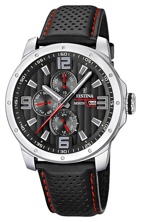 Festina F16585.8 - мужские наручные часы из коллекции MultifunctionFestina<br><br><br>Бренд: Festina<br>Модель: Festina F16585/8<br>Артикул: F16585.8<br>Вариант артикула: None<br>Коллекция: Multifunction<br>Подколлекция: None<br>Страна: Испания<br>Пол: мужские<br>Тип механизма: кварцевые<br>Механизм: None<br>Количество камней: None<br>Автоподзавод: None<br>Источник энергии: от батарейки<br>Срок службы элемента питания: None<br>Дисплей: стрелки<br>Цифры: арабские<br>Водозащита: WR 50<br>Противоударные: None<br>Материал корпуса: нерж. сталь<br>Материал браслета: кожа<br>Материал безеля: None<br>Стекло: минеральное<br>Антибликовое покрытие: None<br>Цвет корпуса: None<br>Цвет браслета: None<br>Цвет циферблата: None<br>Цвет безеля: None<br>Размеры: 45x11.4 мм<br>Диаметр: None<br>Диаметр корпуса: None<br>Толщина: None<br>Ширина ремешка: None<br>Вес: 82 г<br>Спорт-функции: None<br>Подсветка: стрелок<br>Вставка: None<br>Отображение даты: число, месяц, день недели<br>Хронограф: None<br>Таймер: None<br>Термометр: None<br>Хронометр: None<br>GPS: None<br>Радиосинхронизация: None<br>Барометр: None<br>Скелетон: None<br>Дополнительная информация: None<br>Дополнительные функции: второй часовой пояс
