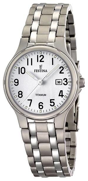 Festina F16461.1 - женские наручные часы из коллекции Calendario TitaniumFestina<br><br><br>Бренд: Festina<br>Модель: Festina F16461/1<br>Артикул: F16461.1<br>Вариант артикула: None<br>Коллекция: Calendario Titanium<br>Подколлекция: None<br>Страна: Испания<br>Пол: женские<br>Тип механизма: кварцевые<br>Механизм: M1L12<br>Количество камней: None<br>Автоподзавод: None<br>Источник энергии: от батарейки<br>Срок службы элемента питания: None<br>Дисплей: стрелки<br>Цифры: арабские<br>Водозащита: WR 30<br>Противоударные: None<br>Материал корпуса: титан<br>Материал браслета: титан<br>Материал безеля: None<br>Стекло: минеральное<br>Антибликовое покрытие: None<br>Цвет корпуса: None<br>Цвет браслета: None<br>Цвет циферблата: None<br>Цвет безеля: None<br>Размеры: 31 мм<br>Диаметр: None<br>Диаметр корпуса: None<br>Толщина: None<br>Ширина ремешка: None<br>Вес: None<br>Спорт-функции: None<br>Подсветка: стрелок<br>Вставка: None<br>Отображение даты: число<br>Хронограф: None<br>Таймер: None<br>Термометр: None<br>Хронометр: None<br>GPS: None<br>Радиосинхронизация: None<br>Барометр: None<br>Скелетон: None<br>Дополнительная информация: None<br>Дополнительные функции: None