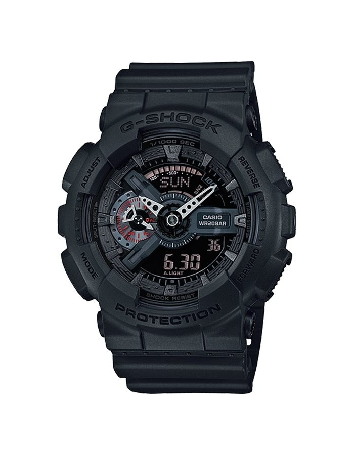 Casio G-SHOCK GA-110MB-1A / GA-110MB-1AER - мужские наручные часыCasio<br><br><br>Бренд: Casio<br>Модель: Casio GA-110MB-1A<br>Артикул: GA-110MB-1A<br>Вариант артикула: GA-110MB-1AER<br>Коллекция: G-SHOCK<br>Подколлекция: None<br>Страна: Япония<br>Пол: мужские<br>Тип механизма: кварцевые<br>Механизм: None<br>Количество камней: None<br>Автоподзавод: None<br>Источник энергии: от батарейки<br>Срок службы элемента питания: None<br>Дисплей: стрелки + цифры<br>Цифры: отсутствуют<br>Водозащита: WR 200<br>Противоударные: есть<br>Материал корпуса: пластик<br>Материал браслета: пластик<br>Материал безеля: None<br>Стекло: минеральное<br>Антибликовое покрытие: None<br>Цвет корпуса: None<br>Цвет браслета: None<br>Цвет циферблата: None<br>Цвет безеля: None<br>Размеры: 51.2x55x16.9 мм<br>Диаметр: None<br>Диаметр корпуса: None<br>Толщина: None<br>Ширина ремешка: None<br>Вес: None<br>Спорт-функции: секундомер, таймер обратного отсчета<br>Подсветка: дисплея, стрелок<br>Вставка: None<br>Отображение даты: вечный календарь, число, день недели<br>Хронограф: None<br>Таймер: None<br>Термометр: None<br>Хронометр: None<br>GPS: None<br>Радиосинхронизация: None<br>Барометр: None<br>Скелетон: None<br>Дополнительная информация: ежечасный сигнал, повтор сигнала будильника, защита от магнитных полей; элемент питания CR1220, срок службы батарейки 2 года<br>Дополнительные функции: будильник (количество установок: 5)