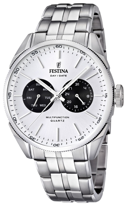 Festina F16630.2 - мужские наручные часы из коллекции MultifunctionFestina<br><br><br>Бренд: Festina<br>Модель: Festina F16630/2<br>Артикул: F16630.2<br>Вариант артикула: None<br>Коллекция: Multifunction<br>Подколлекция: None<br>Страна: Испания<br>Пол: мужские<br>Тип механизма: кварцевые<br>Механизм: M6P25<br>Количество камней: None<br>Автоподзавод: None<br>Источник энергии: от батарейки<br>Срок службы элемента питания: None<br>Дисплей: стрелки<br>Цифры: отсутствуют<br>Водозащита: WR 50<br>Противоударные: None<br>Материал корпуса: нерж. сталь<br>Материал браслета: нерж. сталь<br>Материал безеля: None<br>Стекло: минеральное<br>Антибликовое покрытие: None<br>Цвет корпуса: None<br>Цвет браслета: None<br>Цвет циферблата: None<br>Цвет безеля: None<br>Размеры: 43 мм<br>Диаметр: None<br>Диаметр корпуса: None<br>Толщина: None<br>Ширина ремешка: None<br>Вес: None<br>Спорт-функции: None<br>Подсветка: стрелок<br>Вставка: None<br>Отображение даты: число, день недели<br>Хронограф: None<br>Таймер: None<br>Термометр: None<br>Хронометр: None<br>GPS: None<br>Радиосинхронизация: None<br>Барометр: None<br>Скелетон: None<br>Дополнительная информация: None<br>Дополнительные функции: None