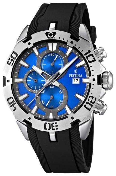 Festina F16672.5 - мужские наручные часы из коллекции SportFestina<br><br><br>Бренд: Festina<br>Модель: Festina F16672/5<br>Артикул: F16672.5<br>Вариант артикула: None<br>Коллекция: Sport<br>Подколлекция: None<br>Страна: Испания<br>Пол: мужские<br>Тип механизма: кварцевые<br>Механизм: None<br>Количество камней: None<br>Автоподзавод: None<br>Источник энергии: от батарейки<br>Срок службы элемента питания: None<br>Дисплей: стрелки<br>Цифры: отсутствуют<br>Водозащита: WR 100<br>Противоударные: None<br>Материал корпуса: нерж. сталь<br>Материал браслета: каучук<br>Материал безеля: None<br>Стекло: минеральное<br>Антибликовое покрытие: None<br>Цвет корпуса: None<br>Цвет браслета: None<br>Цвет циферблата: None<br>Цвет безеля: None<br>Размеры: 44x14 мм<br>Диаметр: None<br>Диаметр корпуса: None<br>Толщина: None<br>Ширина ремешка: None<br>Вес: 112 г<br>Спорт-функции: секундомер<br>Подсветка: стрелок<br>Вставка: None<br>Отображение даты: число<br>Хронограф: есть<br>Таймер: None<br>Термометр: None<br>Хронометр: None<br>GPS: None<br>Радиосинхронизация: None<br>Барометр: None<br>Скелетон: None<br>Дополнительная информация: None<br>Дополнительные функции: None