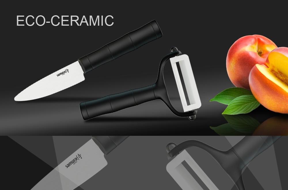 Набор керамический  BAMBOO Фруктовый нож и овощечистка Samura Eco-Ceramic SKC-012Наборы керамических ножей<br>Набор керамический BAMBOO Фруктовый нож и овощечистка Samura Eco-Ceramic SKC-012<br>Набор BAMBOO Фруктовый нож и овощечистка Samura Eco циркониевая керамика, черные рукояти.<br>Маленький керамический ножик и овощечистка с керамическим лезвием - эта парочка необходима на каждой кухне. Керамические лезвия не тупятся годами, не вступают в реакцию с продуктами, а почищенные керамикой овощи долго не темнеют.<br>В набор входят нож овощной - вес 35 г и овощечистка - вес 24 г.<br>Правила использования и уход за керамическими ножами<br><br>Перед использованием первый раз ополосните ножи горячей водой;<br>Используйте кухонные ножи только на разделочной доске из дерева или пластика;<br>Керамические ножи - идеальный инструмент для работы с овощами, фруктами, хлебом, грибами, мясом и рыбным филе, мясными деликатесами;<br>Не используйте для рубки продуктов и не режьте замороженные продукты, а также продукты с костями и твердые сорта сыра;<br>Берегите ножи: при резком ударе о твердую поверхность (о кухонную плитку, мрамор и т.д.), возможно появление сколов и даже раскол ножа;<br>Мы рекомендуем мыть ножи вручную с помощью неабразивных средств и сразу вытирать насухо (использование посудомоечной машины не рекомендуется, это портит ножи);<br>Храните ножи в специальном блоке, ящике для ножей, подставке и т.д.<br><br>Правка и заточка керамических ножей<br>Для правки и заточки керамических ножей мы рекомендуем использовать специальныеточилки.<br>Официальный сертифицированный продавец Samura™<br>
