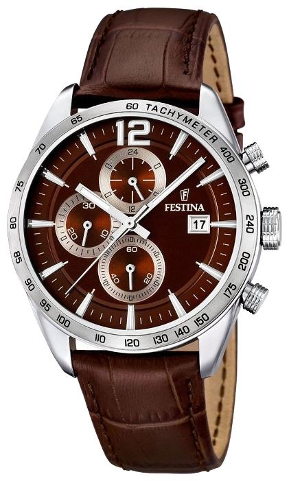 Festina F16760.2 - мужские наручные часы из коллекции ChronographFestina<br><br><br>Бренд: Festina<br>Модель: Festina F16760/2<br>Артикул: F16760.2<br>Вариант артикула: None<br>Коллекция: Chronograph<br>Подколлекция: None<br>Страна: Испания<br>Пол: мужские<br>Тип механизма: кварцевые<br>Механизм: MJS15<br>Количество камней: None<br>Автоподзавод: None<br>Источник энергии: от батарейки<br>Срок службы элемента питания: None<br>Дисплей: стрелки<br>Цифры: арабские<br>Водозащита: WR 50<br>Противоударные: None<br>Материал корпуса: нерж. сталь<br>Материал браслета: кожа<br>Материал безеля: None<br>Стекло: минеральное<br>Антибликовое покрытие: None<br>Цвет корпуса: None<br>Цвет браслета: None<br>Цвет циферблата: None<br>Цвет безеля: None<br>Размеры: 44x12 мм<br>Диаметр: None<br>Диаметр корпуса: None<br>Толщина: None<br>Ширина ремешка: None<br>Вес: None<br>Спорт-функции: секундомер<br>Подсветка: стрелок<br>Вставка: None<br>Отображение даты: число<br>Хронограф: есть<br>Таймер: None<br>Термометр: None<br>Хронометр: None<br>GPS: None<br>Радиосинхронизация: None<br>Барометр: None<br>Скелетон: None<br>Дополнительная информация: None<br>Дополнительные функции: None