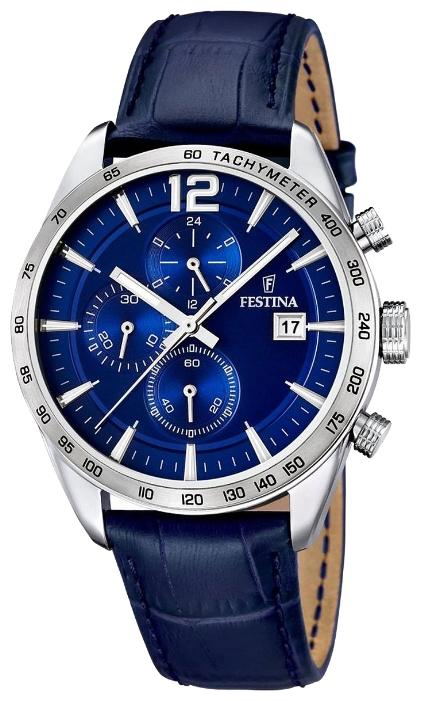Festina F16760.3 - мужские наручные часы из коллекции ChronographFestina<br><br><br>Бренд: Festina<br>Модель: Festina F16760/3<br>Артикул: F16760.3<br>Вариант артикула: None<br>Коллекция: Chronograph<br>Подколлекция: None<br>Страна: Испания<br>Пол: мужские<br>Тип механизма: кварцевые<br>Механизм: MJS15<br>Количество камней: None<br>Автоподзавод: None<br>Источник энергии: от батарейки<br>Срок службы элемента питания: None<br>Дисплей: стрелки<br>Цифры: арабские<br>Водозащита: WR 50<br>Противоударные: None<br>Материал корпуса: нерж. сталь<br>Материал браслета: кожа<br>Материал безеля: None<br>Стекло: минеральное<br>Антибликовое покрытие: None<br>Цвет корпуса: None<br>Цвет браслета: None<br>Цвет циферблата: None<br>Цвет безеля: None<br>Размеры: 44x12 мм<br>Диаметр: None<br>Диаметр корпуса: None<br>Толщина: None<br>Ширина ремешка: None<br>Вес: None<br>Спорт-функции: секундомер<br>Подсветка: стрелок<br>Вставка: None<br>Отображение даты: число<br>Хронограф: есть<br>Таймер: None<br>Термометр: None<br>Хронометр: None<br>GPS: None<br>Радиосинхронизация: None<br>Барометр: None<br>Скелетон: None<br>Дополнительная информация: None<br>Дополнительные функции: None