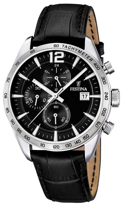 Festina F16760.4 - мужские наручные часы из коллекции ChronographFestina<br><br><br>Бренд: Festina<br>Модель: Festina F16760/4<br>Артикул: F16760.4<br>Вариант артикула: None<br>Коллекция: Chronograph<br>Подколлекция: None<br>Страна: Испания<br>Пол: мужские<br>Тип механизма: кварцевые<br>Механизм: MJS15<br>Количество камней: None<br>Автоподзавод: None<br>Источник энергии: от батарейки<br>Срок службы элемента питания: None<br>Дисплей: стрелки<br>Цифры: арабские<br>Водозащита: WR 50<br>Противоударные: None<br>Материал корпуса: нерж. сталь<br>Материал браслета: кожа<br>Материал безеля: None<br>Стекло: минеральное<br>Антибликовое покрытие: None<br>Цвет корпуса: None<br>Цвет браслета: None<br>Цвет циферблата: None<br>Цвет безеля: None<br>Размеры: 44x12 мм<br>Диаметр: None<br>Диаметр корпуса: None<br>Толщина: None<br>Ширина ремешка: None<br>Вес: None<br>Спорт-функции: секундомер<br>Подсветка: стрелок<br>Вставка: None<br>Отображение даты: число<br>Хронограф: есть<br>Таймер: None<br>Термометр: None<br>Хронометр: None<br>GPS: None<br>Радиосинхронизация: None<br>Барометр: None<br>Скелетон: None<br>Дополнительная информация: None<br>Дополнительные функции: None