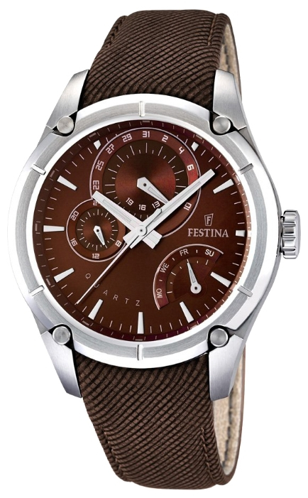 Festina F16767.3 - мужские наручные часы из коллекции MultifunctionFestina<br><br><br>Бренд: Festina<br>Модель: Festina F16767/3<br>Артикул: F16767.3<br>Вариант артикула: None<br>Коллекция: Multifunction<br>Подколлекция: None<br>Страна: Испания<br>Пол: мужские<br>Тип механизма: кварцевые<br>Механизм: None<br>Количество камней: None<br>Автоподзавод: None<br>Источник энергии: от батарейки<br>Срок службы элемента питания: None<br>Дисплей: стрелки<br>Цифры: отсутствуют<br>Водозащита: WR 50<br>Противоударные: None<br>Материал корпуса: нерж. сталь<br>Материал браслета: кожа<br>Материал безеля: None<br>Стекло: минеральное<br>Антибликовое покрытие: None<br>Цвет корпуса: None<br>Цвет браслета: None<br>Цвет циферблата: None<br>Цвет безеля: None<br>Размеры: 44 мм<br>Диаметр: None<br>Диаметр корпуса: None<br>Толщина: None<br>Ширина ремешка: None<br>Вес: None<br>Спорт-функции: None<br>Подсветка: стрелок<br>Вставка: None<br>Отображение даты: число, день недели<br>Хронограф: None<br>Таймер: None<br>Термометр: None<br>Хронометр: None<br>GPS: None<br>Радиосинхронизация: None<br>Барометр: None<br>Скелетон: None<br>Дополнительная информация: None<br>Дополнительные функции: None