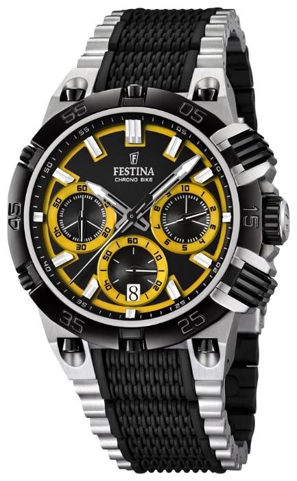 Festina F16775.7 - мужские наручные часы из коллекции Chrono BikeFestina<br><br><br>Бренд: Festina<br>Модель: Festina F16775/7<br>Артикул: F16775.7<br>Вариант артикула: None<br>Коллекция: Chrono Bike<br>Подколлекция: None<br>Страна: Испания<br>Пол: мужские<br>Тип механизма: кварцевые<br>Механизм: M6S20<br>Количество камней: None<br>Автоподзавод: None<br>Источник энергии: от батарейки<br>Срок службы элемента питания: None<br>Дисплей: стрелки<br>Цифры: отсутствуют<br>Водозащита: WR 100<br>Противоударные: None<br>Материал корпуса: нерж. сталь, частичное покрытие корпуса<br>Материал браслета: нерж. сталь, частичное дополнительное покрытие<br>Материал безеля: None<br>Стекло: минеральное<br>Антибликовое покрытие: None<br>Цвет корпуса: None<br>Цвет браслета: None<br>Цвет циферблата: None<br>Цвет безеля: None<br>Размеры: 44 мм<br>Диаметр: None<br>Диаметр корпуса: None<br>Толщина: None<br>Ширина ремешка: None<br>Вес: None<br>Спорт-функции: секундомер<br>Подсветка: стрелок<br>Вставка: None<br>Отображение даты: число<br>Хронограф: есть<br>Таймер: None<br>Термометр: None<br>Хронометр: None<br>GPS: None<br>Радиосинхронизация: None<br>Барометр: None<br>Скелетон: None<br>Дополнительная информация: None<br>Дополнительные функции: None