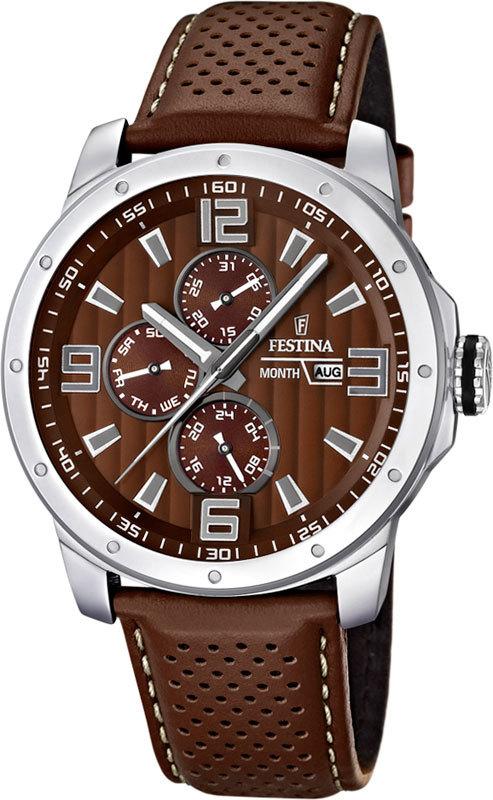 Festina F16585.A - мужские наручные часы из коллекции MultifunctionFestina<br><br><br>Бренд: Festina<br>Модель: Festina F16585/A<br>Артикул: F16585.A<br>Вариант артикула: None<br>Коллекция: Multifunction<br>Подколлекция: None<br>Страна: Испания<br>Пол: мужские<br>Тип механизма: кварцевые<br>Механизм: None<br>Количество камней: None<br>Автоподзавод: None<br>Источник энергии: от батарейки<br>Срок службы элемента питания: None<br>Дисплей: стрелки<br>Цифры: арабские<br>Водозащита: WR 100<br>Противоударные: None<br>Материал корпуса: нерж. сталь<br>Материал браслета: кожа<br>Материал безеля: None<br>Стекло: минеральное<br>Антибликовое покрытие: None<br>Цвет корпуса: None<br>Цвет браслета: None<br>Цвет циферблата: None<br>Цвет безеля: None<br>Размеры: 45x11.4 мм<br>Диаметр: None<br>Диаметр корпуса: None<br>Толщина: None<br>Ширина ремешка: None<br>Вес: 82 г<br>Спорт-функции: None<br>Подсветка: стрелок<br>Вставка: None<br>Отображение даты: число, месяц, день недели<br>Хронограф: None<br>Таймер: None<br>Термометр: None<br>Хронометр: None<br>GPS: None<br>Радиосинхронизация: None<br>Барометр: None<br>Скелетон: None<br>Дополнительная информация: None<br>Дополнительные функции: второй часовой пояс