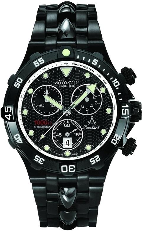 Atlantic 88488.46.61 - мужские наручные часы из коллекции SeasharkAtlantic<br><br><br>Бренд: Atlantic<br>Модель: Atlantic 88488.46.61<br>Артикул: 88488.46.61<br>Вариант артикула: None<br>Коллекция: Seashark<br>Подколлекция: None<br>Страна: Швейцария<br>Пол: мужские<br>Тип механизма: кварцевые<br>Механизм: ETA 251.272<br>Количество камней: None<br>Автоподзавод: None<br>Источник энергии: от батарейки<br>Срок службы элемента питания: None<br>Дисплей: стрелки<br>Цифры: отсутствуют<br>Водозащита: WR 300<br>Противоударные: None<br>Материал корпуса: нерж. сталь, PVD покрытие<br>Материал браслета: не указан, PVD покрытие<br>Материал безеля: None<br>Стекло: сапфировое<br>Антибликовое покрытие: None<br>Цвет корпуса: None<br>Цвет браслета: None<br>Цвет циферблата: None<br>Цвет безеля: None<br>Размеры: 43x43 мм<br>Диаметр: None<br>Диаметр корпуса: None<br>Толщина: None<br>Ширина ремешка: None<br>Вес: None<br>Спорт-функции: секундомер<br>Подсветка: стрелок<br>Вставка: None<br>Отображение даты: число<br>Хронограф: есть<br>Таймер: None<br>Термометр: None<br>Хронометр: None<br>GPS: None<br>Радиосинхронизация: None<br>Барометр: None<br>Скелетон: None<br>Дополнительная информация: None<br>Дополнительные функции: None