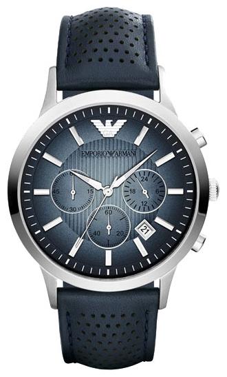Emporio Armani AR2473 - мужские наручные часы из коллекции ClassicEmporio Armani<br><br><br>Бренд: Emporio Armani<br>Модель: Emporio Armani AR2473<br>Артикул: AR2473<br>Вариант артикула: None<br>Коллекция: Classic<br>Подколлекция: None<br>Страна: Италия<br>Пол: мужские<br>Тип механизма: кварцевые<br>Механизм: None<br>Количество камней: None<br>Автоподзавод: None<br>Источник энергии: от батарейки<br>Срок службы элемента питания: None<br>Дисплей: стрелки<br>Цифры: отсутствуют<br>Водозащита: WR 50<br>Противоударные: None<br>Материал корпуса: нерж. сталь<br>Материал браслета: кожа (не указан)<br>Материал безеля: None<br>Стекло: минеральное<br>Антибликовое покрытие: None<br>Цвет корпуса: None<br>Цвет браслета: None<br>Цвет циферблата: None<br>Цвет безеля: None<br>Размеры: 43x11 мм<br>Диаметр: None<br>Диаметр корпуса: None<br>Толщина: None<br>Ширина ремешка: None<br>Вес: None<br>Спорт-функции: секундомер<br>Подсветка: стрелок<br>Вставка: None<br>Отображение даты: число<br>Хронограф: есть<br>Таймер: None<br>Термометр: None<br>Хронометр: None<br>GPS: None<br>Радиосинхронизация: None<br>Барометр: None<br>Скелетон: None<br>Дополнительная информация: None<br>Дополнительные функции: None
