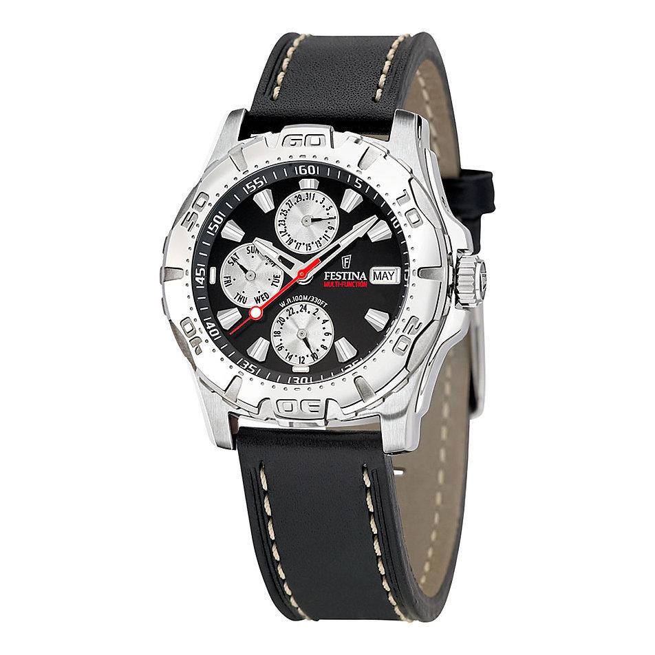 Festina F16243.6 - мужские наручные часы из коллекции MultifunctionFestina<br><br><br>Бренд: Festina<br>Модель: Festina F16243/6<br>Артикул: F16243.6<br>Вариант артикула: None<br>Коллекция: Multifunction<br>Подколлекция: None<br>Страна: Испания<br>Пол: мужские<br>Тип механизма: кварцевые<br>Механизм: None<br>Количество камней: None<br>Автоподзавод: None<br>Источник энергии: от батарейки<br>Срок службы элемента питания: None<br>Дисплей: стрелки<br>Цифры: отсутствуют<br>Водозащита: WR 100<br>Противоударные: None<br>Материал корпуса: нерж. сталь<br>Материал браслета: кожа<br>Материал безеля: None<br>Стекло: минеральное<br>Антибликовое покрытие: None<br>Цвет корпуса: None<br>Цвет браслета: None<br>Цвет циферблата: None<br>Цвет безеля: None<br>Размеры: None<br>Диаметр: None<br>Диаметр корпуса: None<br>Толщина: None<br>Ширина ремешка: None<br>Вес: None<br>Спорт-функции: None<br>Подсветка: стрелок<br>Вставка: None<br>Отображение даты: число, месяц, день недели<br>Хронограф: None<br>Таймер: None<br>Термометр: None<br>Хронометр: None<br>GPS: None<br>Радиосинхронизация: None<br>Барометр: None<br>Скелетон: None<br>Дополнительная информация: None<br>Дополнительные функции: второй часовой пояс