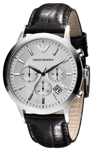 Emporio Armani AR2432 - мужские наручные часы из коллекции GentsEmporio Armani<br><br><br>Бренд: Emporio Armani<br>Модель: Emporio Armani AR2432<br>Артикул: AR2432<br>Вариант артикула: None<br>Коллекция: Gents<br>Подколлекция: None<br>Страна: Италия<br>Пол: мужские<br>Тип механизма: кварцевые<br>Механизм: None<br>Количество камней: None<br>Автоподзавод: None<br>Источник энергии: от батарейки<br>Срок службы элемента питания: None<br>Дисплей: стрелки<br>Цифры: отсутствуют<br>Водозащита: WR 50<br>Противоударные: None<br>Материал корпуса: нерж. сталь<br>Материал браслета: кожа<br>Материал безеля: None<br>Стекло: минеральное<br>Антибликовое покрытие: None<br>Цвет корпуса: None<br>Цвет браслета: None<br>Цвет циферблата: None<br>Цвет безеля: None<br>Размеры: 43x43 мм<br>Диаметр: None<br>Диаметр корпуса: None<br>Толщина: None<br>Ширина ремешка: None<br>Вес: None<br>Спорт-функции: секундомер<br>Подсветка: None<br>Вставка: None<br>Отображение даты: число<br>Хронограф: есть<br>Таймер: None<br>Термометр: None<br>Хронометр: None<br>GPS: None<br>Радиосинхронизация: None<br>Барометр: None<br>Скелетон: None<br>Дополнительная информация: None<br>Дополнительные функции: None