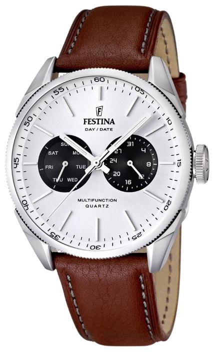 Festina F16629.2 - мужские наручные часы из коллекции MultifunctionFestina<br><br><br>Бренд: Festina<br>Модель: Festina F16629/2<br>Артикул: F16629.2<br>Вариант артикула: None<br>Коллекция: Multifunction<br>Подколлекция: None<br>Страна: Испания<br>Пол: мужские<br>Тип механизма: кварцевые<br>Механизм: Miyota 6P25<br>Количество камней: None<br>Автоподзавод: None<br>Источник энергии: от батарейки<br>Срок службы элемента питания: None<br>Дисплей: стрелки<br>Цифры: отсутствуют<br>Водозащита: WR 50<br>Противоударные: None<br>Материал корпуса: нерж. сталь<br>Материал браслета: кожа<br>Материал безеля: None<br>Стекло: минеральное<br>Антибликовое покрытие: None<br>Цвет корпуса: None<br>Цвет браслета: None<br>Цвет циферблата: None<br>Цвет безеля: None<br>Размеры: 43x11 мм<br>Диаметр: None<br>Диаметр корпуса: None<br>Толщина: None<br>Ширина ремешка: None<br>Вес: None<br>Спорт-функции: None<br>Подсветка: стрелок<br>Вставка: None<br>Отображение даты: число, день недели<br>Хронограф: None<br>Таймер: None<br>Термометр: None<br>Хронометр: None<br>GPS: None<br>Радиосинхронизация: None<br>Барометр: None<br>Скелетон: None<br>Дополнительная информация: элемент питания SR621SW, срок службы батарейки 2 года<br>Дополнительные функции: None