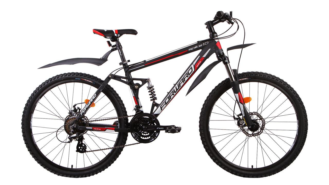 Forward Spike 1.0 Disc (2015)Горные<br>Горный двухподвесный велосипед FORWARD SPIKE 1.0 DISC (2015) создан на базе прочной алюминиевой (сплав 6061) рамы, что значительно уменьшает вес велосипеда. Задняя однорычажная подвеска и передняя амортизационная вилка обеспечивают мягкость и комфорт во время катания. На велосипед установлены дисковые механические тормоза. Их надёжность и эффективность торможения значительно выше, чем у тормозов других типов, а правильное расположение ближе к центру колеса не даёт воде и грязи попасть в тормоз и повлиять на качество торможения.<br>Установленные на велосипед задний и передний переключатели (манетки-триггеры) расширяют диапазон переключения до 21 скорости, что значительно увеличивает запас хода и максимальную скорость. Колёса велосипеда собраны на основе прочных двойных ободов диаметром 26 дюймов. Велосипед укомплектован лёгкими и прочными пластиковыми крыльями, которые защитят вас от воды и грязи в плохую погоду.<br>