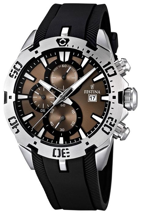 Festina F16672.4 - мужские наручные часы из коллекции SportFestina<br><br><br>Бренд: Festina<br>Модель: Festina F16672/4<br>Артикул: F16672.4<br>Вариант артикула: None<br>Коллекция: Sport<br>Подколлекция: None<br>Страна: Испания<br>Пол: мужские<br>Тип механизма: кварцевые<br>Механизм: None<br>Количество камней: None<br>Автоподзавод: None<br>Источник энергии: от батарейки<br>Срок службы элемента питания: None<br>Дисплей: стрелки<br>Цифры: отсутствуют<br>Водозащита: WR 100<br>Противоударные: None<br>Материал корпуса: нерж. сталь<br>Материал браслета: каучук<br>Материал безеля: None<br>Стекло: минеральное<br>Антибликовое покрытие: None<br>Цвет корпуса: None<br>Цвет браслета: None<br>Цвет циферблата: None<br>Цвет безеля: None<br>Размеры: 44x13.8 мм<br>Диаметр: None<br>Диаметр корпуса: None<br>Толщина: None<br>Ширина ремешка: None<br>Вес: 112 г<br>Спорт-функции: секундомер<br>Подсветка: стрелок<br>Вставка: None<br>Отображение даты: число<br>Хронограф: есть<br>Таймер: None<br>Термометр: None<br>Хронометр: None<br>GPS: None<br>Радиосинхронизация: None<br>Барометр: None<br>Скелетон: None<br>Дополнительная информация: None<br>Дополнительные функции: None
