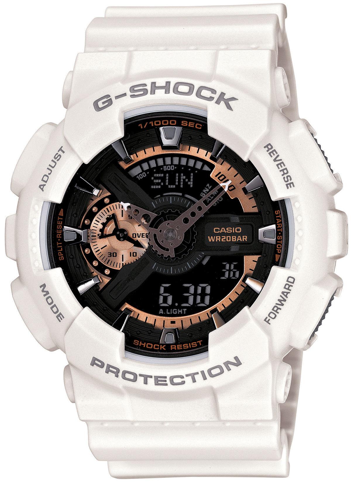 Casio G-SHOCK GA-110RG-7A / GA-110RG-7AER - мужские наручные часыCasio<br><br><br>Бренд: Casio<br>Модель: Casio GA-110RG-7A<br>Артикул: GA-110RG-7A<br>Вариант артикула: GA-110RG-7AER<br>Коллекция: G-SHOCK<br>Подколлекция: None<br>Страна: Япония<br>Пол: мужские<br>Тип механизма: кварцевые<br>Механизм: None<br>Количество камней: None<br>Автоподзавод: None<br>Источник энергии: от батарейки<br>Срок службы элемента питания: None<br>Дисплей: стрелки + цифры<br>Цифры: отсутствуют<br>Водозащита: WR 200<br>Противоударные: есть<br>Материал корпуса: пластик<br>Материал браслета: пластик<br>Материал безеля: None<br>Стекло: минеральное<br>Антибликовое покрытие: None<br>Цвет корпуса: None<br>Цвет браслета: None<br>Цвет циферблата: None<br>Цвет безеля: None<br>Размеры: 51.2x55x17.4 мм<br>Диаметр: None<br>Диаметр корпуса: None<br>Толщина: None<br>Ширина ремешка: None<br>Вес: 72 г<br>Спорт-функции: секундомер, таймер обратного отсчета<br>Подсветка: дисплея, стрелок<br>Вставка: None<br>Отображение даты: вечный календарь, число, месяц, день недели<br>Хронограф: None<br>Таймер: None<br>Термометр: None<br>Хронометр: None<br>GPS: None<br>Радиосинхронизация: None<br>Барометр: None<br>Скелетон: None<br>Дополнительная информация: автоподсветка, повтор сигнала будильника, ежечасный сигнал, защитная функция антимагнит, элемент питания CR1220, срок службы батарейки 2 года<br>Дополнительные функции: второй часовой пояс, будильник (количество установок: 5)