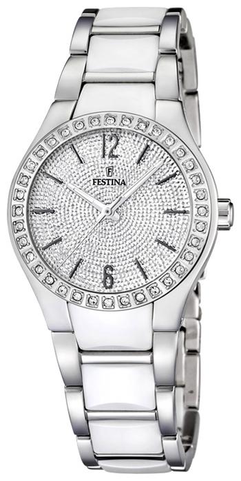 Festina F16657.1 - женские наручные часы из коллекции Crono Acero Sin AlarmaFestina<br><br><br>Бренд: Festina<br>Модель: Festina F16657/1<br>Артикул: F16657.1<br>Вариант артикула: None<br>Коллекция: Crono Acero Sin Alarma<br>Подколлекция: None<br>Страна: Испания<br>Пол: женские<br>Тип механизма: кварцевые<br>Механизм: None<br>Количество камней: None<br>Автоподзавод: None<br>Источник энергии: от батарейки<br>Срок службы элемента питания: None<br>Дисплей: стрелки<br>Цифры: арабские<br>Водозащита: WR 50<br>Противоударные: None<br>Материал корпуса: нерж. сталь<br>Материал браслета: нерж. сталь + керамика<br>Материал безеля: None<br>Стекло: минеральное<br>Антибликовое покрытие: None<br>Цвет корпуса: None<br>Цвет браслета: None<br>Цвет циферблата: None<br>Цвет безеля: None<br>Размеры: 32x9 мм<br>Диаметр: None<br>Диаметр корпуса: None<br>Толщина: None<br>Ширина ремешка: None<br>Вес: None<br>Спорт-функции: None<br>Подсветка: стрелок<br>Вставка: фианит<br>Отображение даты: None<br>Хронограф: None<br>Таймер: None<br>Термометр: None<br>Хронометр: None<br>GPS: None<br>Радиосинхронизация: None<br>Барометр: None<br>Скелетон: None<br>Дополнительная информация: срок службы батарейки 2 года<br>Дополнительные функции: None
