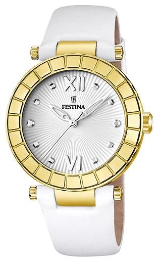 Festina F16647.1 - женские наручные часы из коллекции DreamFestina<br><br><br>Бренд: Festina<br>Модель: Festina F16647/1<br>Артикул: F16647.1<br>Вариант артикула: None<br>Коллекция: Dream<br>Подколлекция: None<br>Страна: Испания<br>Пол: женские<br>Тип механизма: кварцевые<br>Механизм: Miyota<br>Количество камней: None<br>Автоподзавод: None<br>Источник энергии: от батарейки<br>Срок службы элемента питания: None<br>Дисплей: стрелки<br>Цифры: римские<br>Водозащита: WR 50<br>Противоударные: None<br>Материал корпуса: нерж. сталь, PVD покрытие: позолота (полное)<br>Материал браслета: кожа<br>Материал безеля: None<br>Стекло: минеральное<br>Антибликовое покрытие: None<br>Цвет корпуса: None<br>Цвет браслета: None<br>Цвет циферблата: None<br>Цвет безеля: None<br>Размеры: 38x10 мм<br>Диаметр: None<br>Диаметр корпуса: None<br>Толщина: None<br>Ширина ремешка: None<br>Вес: None<br>Спорт-функции: None<br>Подсветка: None<br>Вставка: None<br>Отображение даты: None<br>Хронограф: None<br>Таймер: None<br>Термометр: None<br>Хронометр: None<br>GPS: None<br>Радиосинхронизация: None<br>Барометр: None<br>Скелетон: None<br>Дополнительная информация: элемент питания SR626SW, срок службы батарейки 3 года<br>Дополнительные функции: None