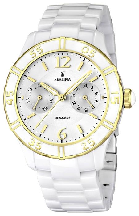 Festina F16634.1 - женские наручные часы из коллекции CeramicFestina<br><br><br>Бренд: Festina<br>Модель: Festina F16634/1<br>Артикул: F16634.1<br>Вариант артикула: None<br>Коллекция: Ceramic<br>Подколлекция: None<br>Страна: Испания<br>Пол: женские<br>Тип механизма: кварцевые<br>Механизм: None<br>Количество камней: None<br>Автоподзавод: None<br>Источник энергии: от батарейки<br>Срок службы элемента питания: None<br>Дисплей: стрелки<br>Цифры: арабские<br>Водозащита: WR 50<br>Противоударные: None<br>Материал корпуса: нерж. сталь + керамика, PVD покрытие: позолота (частичное)<br>Материал браслета: керамика<br>Материал безеля: None<br>Стекло: минеральное<br>Антибликовое покрытие: None<br>Цвет корпуса: None<br>Цвет браслета: None<br>Цвет циферблата: None<br>Цвет безеля: None<br>Размеры: 38x10 мм<br>Диаметр: None<br>Диаметр корпуса: None<br>Толщина: None<br>Ширина ремешка: None<br>Вес: None<br>Спорт-функции: None<br>Подсветка: стрелок<br>Вставка: None<br>Отображение даты: число, день недели<br>Хронограф: None<br>Таймер: None<br>Термометр: None<br>Хронометр: None<br>GPS: None<br>Радиосинхронизация: None<br>Барометр: None<br>Скелетон: None<br>Дополнительная информация: срок службы батарейки 36 месяцев<br>Дополнительные функции: None