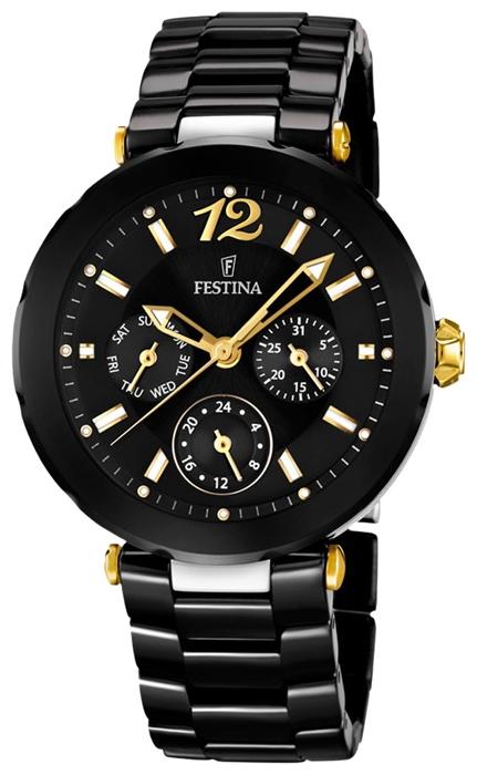 Festina F16641.4 - женские наручные часы из коллекции CeramicFestina<br><br><br>Бренд: Festina<br>Модель: Festina F16641/4<br>Артикул: F16641.4<br>Вариант артикула: None<br>Коллекция: Ceramic<br>Подколлекция: None<br>Страна: Испания<br>Пол: женские<br>Тип механизма: кварцевые<br>Механизм: Miyota 6P79<br>Количество камней: None<br>Автоподзавод: None<br>Источник энергии: от батарейки<br>Срок службы элемента питания: None<br>Дисплей: стрелки<br>Цифры: арабские<br>Водозащита: WR 50<br>Противоударные: None<br>Материал корпуса: нерж. сталь + керамика, покрытие: позолота (частичное)<br>Материал браслета: керамика<br>Материал безеля: None<br>Стекло: минеральное<br>Антибликовое покрытие: None<br>Цвет корпуса: None<br>Цвет браслета: None<br>Цвет циферблата: None<br>Цвет безеля: None<br>Размеры: 38x9 мм<br>Диаметр: None<br>Диаметр корпуса: None<br>Толщина: None<br>Ширина ремешка: None<br>Вес: None<br>Спорт-функции: None<br>Подсветка: стрелок<br>Вставка: None<br>Отображение даты: число, день недели<br>Хронограф: None<br>Таймер: None<br>Термометр: None<br>Хронометр: None<br>GPS: None<br>Радиосинхронизация: None<br>Барометр: None<br>Скелетон: None<br>Дополнительная информация: элемент питания SR621SW, срок службы батарейки 3 года<br>Дополнительные функции: None
