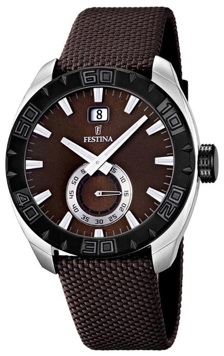 Festina F16674.3 - мужские наручные часы из коллекции SportFestina<br><br><br>Бренд: Festina<br>Модель: Festina F16674/3<br>Артикул: F16674.3<br>Вариант артикула: None<br>Коллекция: Sport<br>Подколлекция: None<br>Страна: Испания<br>Пол: мужские<br>Тип механизма: кварцевые<br>Механизм: Miyota<br>Количество камней: None<br>Автоподзавод: None<br>Источник энергии: от батарейки<br>Срок службы элемента питания: None<br>Дисплей: стрелки<br>Цифры: отсутствуют<br>Водозащита: WR 50<br>Противоударные: None<br>Материал корпуса: нерж. сталь, PVD покрытие (частичное)<br>Материал браслета: текстиль<br>Материал безеля: None<br>Стекло: минеральное<br>Антибликовое покрытие: None<br>Цвет корпуса: None<br>Цвет браслета: None<br>Цвет циферблата: None<br>Цвет безеля: None<br>Размеры: 44 мм<br>Диаметр: None<br>Диаметр корпуса: None<br>Толщина: None<br>Ширина ремешка: None<br>Вес: None<br>Спорт-функции: None<br>Подсветка: стрелок<br>Вставка: None<br>Отображение даты: число<br>Хронограф: None<br>Таймер: None<br>Термометр: None<br>Хронометр: None<br>GPS: None<br>Радиосинхронизация: None<br>Барометр: None<br>Скелетон: None<br>Дополнительная информация: элемент питания SR621SW, срок службы батарейки 3 года<br>Дополнительные функции: None