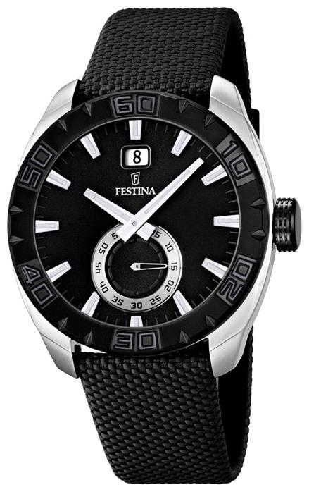 Festina F16674.4 - мужские наручные часы из коллекции SportFestina<br><br><br>Бренд: Festina<br>Модель: Festina F16674/4<br>Артикул: F16674.4<br>Вариант артикула: None<br>Коллекция: Sport<br>Подколлекция: None<br>Страна: Испания<br>Пол: мужские<br>Тип механизма: кварцевые<br>Механизм: Miyota<br>Количество камней: None<br>Автоподзавод: None<br>Источник энергии: от батарейки<br>Срок службы элемента питания: None<br>Дисплей: стрелки<br>Цифры: отсутствуют<br>Водозащита: WR 50<br>Противоударные: None<br>Материал корпуса: нерж. сталь, PVD покрытие (частичное)<br>Материал браслета: текстиль<br>Материал безеля: None<br>Стекло: минеральное<br>Антибликовое покрытие: None<br>Цвет корпуса: None<br>Цвет браслета: None<br>Цвет циферблата: None<br>Цвет безеля: None<br>Размеры: 44 мм<br>Диаметр: None<br>Диаметр корпуса: None<br>Толщина: None<br>Ширина ремешка: None<br>Вес: None<br>Спорт-функции: None<br>Подсветка: стрелок<br>Вставка: None<br>Отображение даты: число<br>Хронограф: None<br>Таймер: None<br>Термометр: None<br>Хронометр: None<br>GPS: None<br>Радиосинхронизация: None<br>Барометр: None<br>Скелетон: None<br>Дополнительная информация: элемент питания SR621SW, срок службы батарейки 3 года<br>Дополнительные функции: None