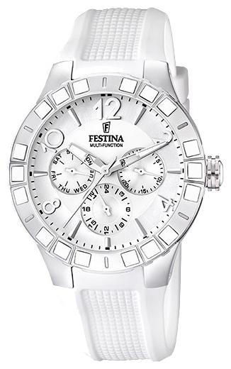 Festina F16675.1 - женские наручные часы из коллекции SportFestina<br><br><br>Бренд: Festina<br>Модель: Festina F16675/1<br>Артикул: F16675.1<br>Вариант артикула: None<br>Коллекция: Sport<br>Подколлекция: None<br>Страна: Испания<br>Пол: женские<br>Тип механизма: кварцевые<br>Механизм: Miyota<br>Количество камней: None<br>Автоподзавод: None<br>Источник энергии: от батарейки<br>Срок службы элемента питания: None<br>Дисплей: стрелки<br>Цифры: арабские<br>Водозащита: WR 50<br>Противоударные: None<br>Материал корпуса: нерж. сталь, покрытие: эмаль (частичное)<br>Материал браслета: силикон<br>Материал безеля: None<br>Стекло: минеральное<br>Антибликовое покрытие: None<br>Цвет корпуса: None<br>Цвет браслета: None<br>Цвет циферблата: None<br>Цвет безеля: None<br>Размеры: 42 мм<br>Диаметр: None<br>Диаметр корпуса: None<br>Толщина: None<br>Ширина ремешка: None<br>Вес: None<br>Спорт-функции: None<br>Подсветка: стрелок<br>Вставка: None<br>Отображение даты: число, день недели<br>Хронограф: None<br>Таймер: None<br>Термометр: None<br>Хронометр: None<br>GPS: None<br>Радиосинхронизация: None<br>Барометр: None<br>Скелетон: None<br>Дополнительная информация: элемент питания SR621SW, срок службы батарейки 3 года<br>Дополнительные функции: None