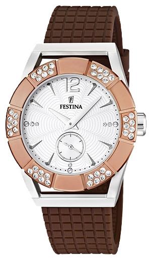 Festina F16677.2 - женские наручные часы из коллекции DreamFestina<br><br><br>Бренд: Festina<br>Модель: Festina F16677/2<br>Артикул: F16677.2<br>Вариант артикула: None<br>Коллекция: Dream<br>Подколлекция: None<br>Страна: Испания<br>Пол: женские<br>Тип механизма: кварцевые<br>Механизм: Miyota<br>Количество камней: None<br>Автоподзавод: None<br>Источник энергии: от батарейки<br>Срок службы элемента питания: None<br>Дисплей: стрелки<br>Цифры: арабские<br>Водозащита: WR 50<br>Противоударные: None<br>Материал корпуса: нерж. сталь, PVD покрытие: позолота (частичное)<br>Материал браслета: силикон<br>Материал безеля: None<br>Стекло: минеральное<br>Антибликовое покрытие: None<br>Цвет корпуса: None<br>Цвет браслета: None<br>Цвет циферблата: None<br>Цвет безеля: None<br>Размеры: 42 мм<br>Диаметр: None<br>Диаметр корпуса: None<br>Толщина: None<br>Ширина ремешка: None<br>Вес: None<br>Спорт-функции: None<br>Подсветка: None<br>Вставка: циркон<br>Отображение даты: None<br>Хронограф: None<br>Таймер: None<br>Термометр: None<br>Хронометр: None<br>GPS: None<br>Радиосинхронизация: None<br>Барометр: None<br>Скелетон: None<br>Дополнительная информация: элемент питания SR621SW, срок службы батарейки 3 года<br>Дополнительные функции: None