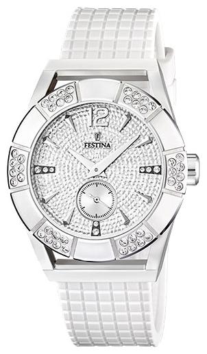 Festina F16677.4 - женские наручные часы из коллекции DreamFestina<br><br><br>Бренд: Festina<br>Модель: Festina F16677/4<br>Артикул: F16677.4<br>Вариант артикула: None<br>Коллекция: Dream<br>Подколлекция: None<br>Страна: Испания<br>Пол: женские<br>Тип механизма: кварцевые<br>Механизм: Miyota<br>Количество камней: None<br>Автоподзавод: None<br>Источник энергии: от батарейки<br>Срок службы элемента питания: None<br>Дисплей: стрелки<br>Цифры: арабские<br>Водозащита: WR 50<br>Противоударные: None<br>Материал корпуса: нерж. сталь<br>Материал браслета: силикон<br>Материал безеля: None<br>Стекло: минеральное<br>Антибликовое покрытие: None<br>Цвет корпуса: None<br>Цвет браслета: None<br>Цвет циферблата: None<br>Цвет безеля: None<br>Размеры: 42 мм<br>Диаметр: None<br>Диаметр корпуса: None<br>Толщина: None<br>Ширина ремешка: None<br>Вес: None<br>Спорт-функции: None<br>Подсветка: None<br>Вставка: циркон<br>Отображение даты: None<br>Хронограф: None<br>Таймер: None<br>Термометр: None<br>Хронометр: None<br>GPS: None<br>Радиосинхронизация: None<br>Барометр: None<br>Скелетон: None<br>Дополнительная информация: элемент питания SR621SW, срок службы батарейки 3 года<br>Дополнительные функции: None