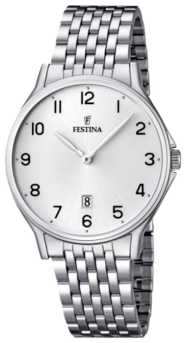 Festina F16744.1 - мужские наручные часы из коллекции ClassicFestina<br><br><br>Бренд: Festina<br>Модель: Festina F16744/1<br>Артикул: F16744.1<br>Вариант артикула: None<br>Коллекция: Classic<br>Подколлекция: None<br>Страна: Испания<br>Пол: мужские<br>Тип механизма: кварцевые<br>Механизм: MGM15<br>Количество камней: None<br>Автоподзавод: None<br>Источник энергии: от батарейки<br>Срок службы элемента питания: None<br>Дисплей: стрелки<br>Цифры: арабские<br>Водозащита: WR 50<br>Противоударные: None<br>Материал корпуса: нерж. сталь<br>Материал браслета: нерж. сталь<br>Материал безеля: None<br>Стекло: минеральное<br>Антибликовое покрытие: None<br>Цвет корпуса: None<br>Цвет браслета: None<br>Цвет циферблата: None<br>Цвет безеля: None<br>Размеры: 39.2 мм<br>Диаметр: None<br>Диаметр корпуса: None<br>Толщина: None<br>Ширина ремешка: None<br>Вес: None<br>Спорт-функции: None<br>Подсветка: None<br>Вставка: None<br>Отображение даты: число<br>Хронограф: None<br>Таймер: None<br>Термометр: None<br>Хронометр: None<br>GPS: None<br>Радиосинхронизация: None<br>Барометр: None<br>Скелетон: None<br>Дополнительная информация: None<br>Дополнительные функции: None