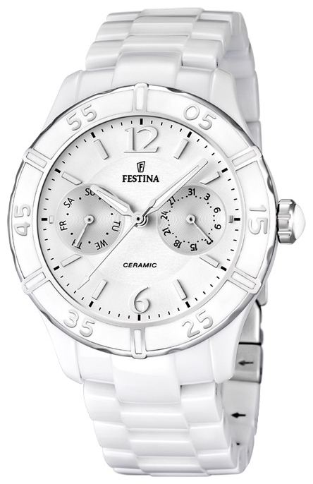 Festina F16622.1 - женские наручные часы из коллекции CeramicFestina<br><br><br>Бренд: Festina<br>Модель: Festina F16622/1<br>Артикул: F16622.1<br>Вариант артикула: None<br>Коллекция: Ceramic<br>Подколлекция: None<br>Страна: Испания<br>Пол: женские<br>Тип механизма: кварцевые<br>Механизм: None<br>Количество камней: None<br>Автоподзавод: None<br>Источник энергии: от батарейки<br>Срок службы элемента питания: None<br>Дисплей: стрелки<br>Цифры: арабские<br>Водозащита: None<br>Противоударные: None<br>Материал корпуса: нерж. сталь + керамика<br>Материал браслета: керамика<br>Материал безеля: None<br>Стекло: None<br>Антибликовое покрытие: None<br>Цвет корпуса: None<br>Цвет браслета: None<br>Цвет циферблата: None<br>Цвет безеля: None<br>Размеры: 38x11 мм<br>Диаметр: None<br>Диаметр корпуса: None<br>Толщина: None<br>Ширина ремешка: None<br>Вес: None<br>Спорт-функции: None<br>Подсветка: стрелок<br>Вставка: None<br>Отображение даты: число, день недели<br>Хронограф: None<br>Таймер: None<br>Термометр: None<br>Хронометр: None<br>GPS: None<br>Радиосинхронизация: None<br>Барометр: None<br>Скелетон: None<br>Дополнительная информация: None<br>Дополнительные функции: None