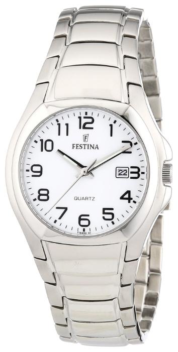 Festina F16450.1 - женские наручные часы из коллекции ClassicFestina<br><br><br>Бренд: Festina<br>Модель: Festina F16450/1<br>Артикул: F16450.1<br>Вариант артикула: None<br>Коллекция: Classic<br>Подколлекция: None<br>Страна: Испания<br>Пол: женские<br>Тип механизма: кварцевые<br>Механизм: M9T13<br>Количество камней: None<br>Автоподзавод: None<br>Источник энергии: от батарейки<br>Срок службы элемента питания: None<br>Дисплей: стрелки<br>Цифры: арабские<br>Водозащита: WR 30<br>Противоударные: None<br>Материал корпуса: нерж. сталь<br>Материал браслета: нерж. сталь<br>Материал безеля: None<br>Стекло: минеральное<br>Антибликовое покрытие: None<br>Цвет корпуса: None<br>Цвет браслета: None<br>Цвет циферблата: None<br>Цвет безеля: None<br>Размеры: 29 мм<br>Диаметр: None<br>Диаметр корпуса: None<br>Толщина: None<br>Ширина ремешка: None<br>Вес: None<br>Спорт-функции: None<br>Подсветка: None<br>Вставка: None<br>Отображение даты: число<br>Хронограф: None<br>Таймер: None<br>Термометр: None<br>Хронометр: None<br>GPS: None<br>Радиосинхронизация: None<br>Барометр: None<br>Скелетон: None<br>Дополнительная информация: None<br>Дополнительные функции: None