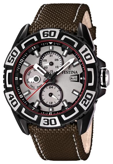 Festina F16584.1 - мужские наручные часы из коллекции MultifunctionFestina<br><br><br>Бренд: Festina<br>Модель: Festina F16584/1<br>Артикул: F16584.1<br>Вариант артикула: None<br>Коллекция: Multifunction<br>Подколлекция: None<br>Страна: Испания<br>Пол: мужские<br>Тип механизма: кварцевые<br>Механизм: None<br>Количество камней: None<br>Автоподзавод: None<br>Источник энергии: от батарейки<br>Срок службы элемента питания: None<br>Дисплей: стрелки<br>Цифры: арабские<br>Водозащита: WR 100<br>Противоударные: None<br>Материал корпуса: нерж. сталь, IP покрытие (полное)<br>Материал браслета: текстиль + кожа<br>Материал безеля: None<br>Стекло: минеральное<br>Антибликовое покрытие: None<br>Цвет корпуса: None<br>Цвет браслета: None<br>Цвет циферблата: None<br>Цвет безеля: None<br>Размеры: 47 мм<br>Диаметр: None<br>Диаметр корпуса: None<br>Толщина: None<br>Ширина ремешка: None<br>Вес: None<br>Спорт-функции: None<br>Подсветка: стрелок<br>Вставка: None<br>Отображение даты: число, месяц, день недели<br>Хронограф: None<br>Таймер: None<br>Термометр: None<br>Хронометр: None<br>GPS: None<br>Радиосинхронизация: None<br>Барометр: None<br>Скелетон: None<br>Дополнительная информация: None<br>Дополнительные функции: второй часовой пояс
