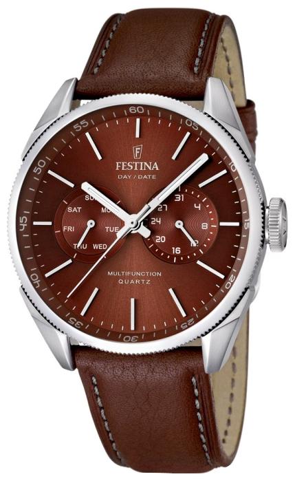 Festina F16629.5 - мужские наручные часы из коллекции MultifunctionFestina<br><br><br>Бренд: Festina<br>Модель: Festina F16629/5<br>Артикул: F16629.5<br>Вариант артикула: None<br>Коллекция: Multifunction<br>Подколлекция: None<br>Страна: Испания<br>Пол: мужские<br>Тип механизма: кварцевые<br>Механизм: None<br>Количество камней: None<br>Автоподзавод: None<br>Источник энергии: от батарейки<br>Срок службы элемента питания: None<br>Дисплей: стрелки<br>Цифры: отсутствуют<br>Водозащита: WR 50<br>Противоударные: None<br>Материал корпуса: нерж. сталь<br>Материал браслета: кожа<br>Материал безеля: None<br>Стекло: минеральное<br>Антибликовое покрытие: None<br>Цвет корпуса: None<br>Цвет браслета: None<br>Цвет циферблата: None<br>Цвет безеля: None<br>Размеры: None<br>Диаметр: None<br>Диаметр корпуса: None<br>Толщина: None<br>Ширина ремешка: None<br>Вес: None<br>Спорт-функции: None<br>Подсветка: стрелок<br>Вставка: None<br>Отображение даты: число, день недели<br>Хронограф: None<br>Таймер: None<br>Термометр: None<br>Хронометр: None<br>GPS: None<br>Радиосинхронизация: None<br>Барометр: None<br>Скелетон: None<br>Дополнительная информация: None<br>Дополнительные функции: None