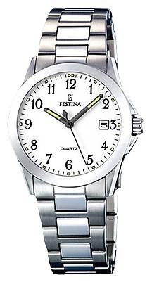 Festina F16377.1 - женские наручные часы из коллекции ClassicFestina<br><br><br>Бренд: Festina<br>Модель: Festina F16377/1<br>Артикул: F16377.1<br>Вариант артикула: None<br>Коллекция: Classic<br>Подколлекция: None<br>Страна: Испания<br>Пол: женские<br>Тип механизма: кварцевые<br>Механизм: M1N12<br>Количество камней: None<br>Автоподзавод: None<br>Источник энергии: от батарейки<br>Срок службы элемента питания: None<br>Дисплей: стрелки<br>Цифры: арабские<br>Водозащита: WR 50<br>Противоударные: None<br>Материал корпуса: нерж. сталь<br>Материал браслета: нерж. сталь<br>Материал безеля: None<br>Стекло: минеральное<br>Антибликовое покрытие: None<br>Цвет корпуса: None<br>Цвет браслета: None<br>Цвет циферблата: None<br>Цвет безеля: None<br>Размеры: 30 мм<br>Диаметр: None<br>Диаметр корпуса: None<br>Толщина: None<br>Ширина ремешка: None<br>Вес: None<br>Спорт-функции: None<br>Подсветка: стрелок<br>Вставка: None<br>Отображение даты: число<br>Хронограф: None<br>Таймер: None<br>Термометр: None<br>Хронометр: None<br>GPS: None<br>Радиосинхронизация: None<br>Барометр: None<br>Скелетон: None<br>Дополнительная информация: None<br>Дополнительные функции: None