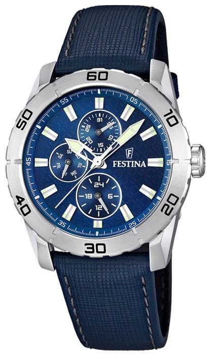 Festina F16607.2 - мужские наручные часы из коллекции MultifunctionFestina<br><br><br>Бренд: Festina<br>Модель: Festina F16607/2<br>Артикул: F16607.2<br>Вариант артикула: None<br>Коллекция: Multifunction<br>Подколлекция: None<br>Страна: Испания<br>Пол: мужские<br>Тип механизма: кварцевые<br>Механизм: M6P27<br>Количество камней: None<br>Автоподзавод: None<br>Источник энергии: от батарейки<br>Срок службы элемента питания: None<br>Дисплей: стрелки<br>Цифры: отсутствуют<br>Водозащита: WR 50<br>Противоударные: None<br>Материал корпуса: нерж. сталь<br>Материал браслета: кожа<br>Материал безеля: None<br>Стекло: минеральное<br>Антибликовое покрытие: None<br>Цвет корпуса: None<br>Цвет браслета: None<br>Цвет циферблата: None<br>Цвет безеля: None<br>Размеры: 44 мм<br>Диаметр: None<br>Диаметр корпуса: None<br>Толщина: None<br>Ширина ремешка: None<br>Вес: None<br>Спорт-функции: None<br>Подсветка: стрелок<br>Вставка: None<br>Отображение даты: число, день недели<br>Хронограф: None<br>Таймер: None<br>Термометр: None<br>Хронометр: None<br>GPS: None<br>Радиосинхронизация: None<br>Барометр: None<br>Скелетон: None<br>Дополнительная информация: None<br>Дополнительные функции: второй часовой пояс
