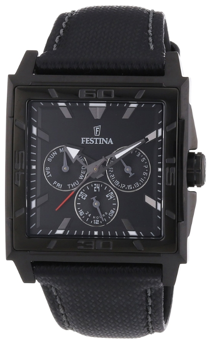 Festina F16569.7 - мужские наручные часы из коллекции MultifunctionFestina<br><br><br>Бренд: Festina<br>Модель: Festina F16569/7<br>Артикул: F16569.7<br>Вариант артикула: None<br>Коллекция: Multifunction<br>Подколлекция: None<br>Страна: Испания<br>Пол: мужские<br>Тип механизма: кварцевые<br>Механизм: M6P79<br>Количество камней: None<br>Автоподзавод: None<br>Источник энергии: от батарейки<br>Срок службы элемента питания: None<br>Дисплей: стрелки<br>Цифры: отсутствуют<br>Водозащита: WR 50<br>Противоударные: None<br>Материал корпуса: нерж. сталь, PVD покрытие (полное)<br>Материал браслета: кожа<br>Материал безеля: None<br>Стекло: минеральное<br>Антибликовое покрытие: None<br>Цвет корпуса: None<br>Цвет браслета: None<br>Цвет циферблата: None<br>Цвет безеля: None<br>Размеры: 41x11.5 мм<br>Диаметр: None<br>Диаметр корпуса: None<br>Толщина: None<br>Ширина ремешка: None<br>Вес: 87 г<br>Спорт-функции: None<br>Подсветка: стрелок<br>Вставка: None<br>Отображение даты: число, день недели<br>Хронограф: None<br>Таймер: None<br>Термометр: None<br>Хронометр: None<br>GPS: None<br>Радиосинхронизация: None<br>Барометр: None<br>Скелетон: None<br>Дополнительная информация: None<br>Дополнительные функции: None