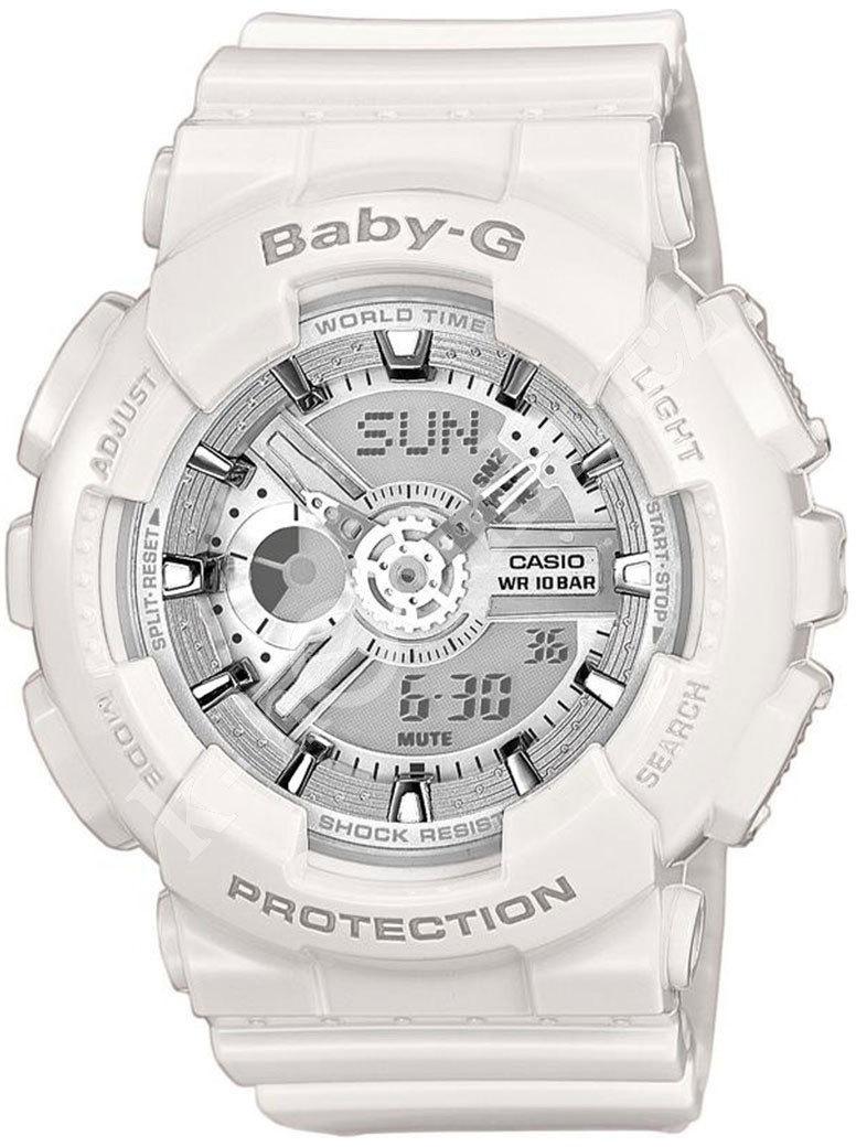 Casio Baby-G BA-110-7A3 / BA-110-7A3ER - унисекс наручные часыCasio<br><br><br>Бренд: Casio<br>Модель: Casio BA-110-7A3<br>Артикул: BA-110-7A3<br>Вариант артикула: BA-110-7A3ER<br>Коллекция: Baby-G<br>Подколлекция: None<br>Страна: Япония<br>Пол: унисекс<br>Тип механизма: кварцевые<br>Механизм: None<br>Количество камней: None<br>Автоподзавод: None<br>Источник энергии: от батарейки<br>Срок службы элемента питания: None<br>Дисплей: стрелки + цифры<br>Цифры: отсутствуют<br>Водозащита: WR 200<br>Противоударные: есть<br>Материал корпуса: пластик<br>Материал браслета: пластик<br>Материал безеля: None<br>Стекло: минеральное<br>Антибликовое покрытие: None<br>Цвет корпуса: None<br>Цвет браслета: None<br>Цвет циферблата: None<br>Цвет безеля: None<br>Размеры: 43.4x46.3x15.8 мм<br>Диаметр: None<br>Диаметр корпуса: None<br>Толщина: None<br>Ширина ремешка: None<br>Вес: 44.9 г<br>Спорт-функции: секундомер, таймер обратного отсчета<br>Подсветка: дисплея, стрелок<br>Вставка: None<br>Отображение даты: вечный календарь, число, месяц, день недели<br>Хронограф: None<br>Таймер: None<br>Термометр: None<br>Хронометр: None<br>GPS: None<br>Радиосинхронизация: None<br>Барометр: None<br>Скелетон: None<br>Дополнительная информация: повтор сигнала будильника, ежечасный сигнал, функция включения/отключения звука кнопок, элемент питания SR726W ? 2, срок службы батарейки 2 года<br>Дополнительные функции: второй часовой пояс, будильник (количество установок: 5)