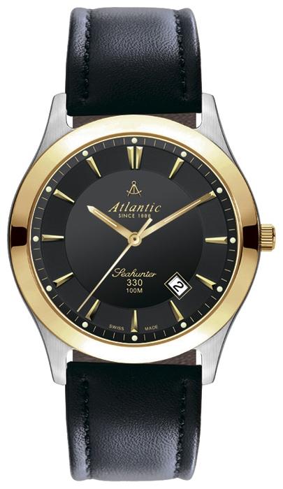 Atlantic 71360.45.61 - мужские наручные часы из коллекции SeahunterAtlantic<br><br><br>Бренд: Atlantic<br>Модель: Atlantic 71360.45.61<br>Артикул: 71360.45.61<br>Вариант артикула: None<br>Коллекция: Seahunter<br>Подколлекция: None<br>Страна: Швейцария<br>Пол: мужские<br>Тип механизма: кварцевые<br>Механизм: ETA F06.111<br>Количество камней: None<br>Автоподзавод: None<br>Источник энергии: от батарейки<br>Срок службы элемента питания: None<br>Дисплей: стрелки<br>Цифры: отсутствуют<br>Водозащита: WR 100<br>Противоударные: None<br>Материал корпуса: нерж. сталь, PVD покрытие: позолота (частичное)<br>Материал браслета: кожа<br>Материал безеля: None<br>Стекло: сапфировое<br>Антибликовое покрытие: None<br>Цвет корпуса: None<br>Цвет браслета: None<br>Цвет циферблата: None<br>Цвет безеля: None<br>Размеры: 40 мм<br>Диаметр: None<br>Диаметр корпуса: None<br>Толщина: None<br>Ширина ремешка: None<br>Вес: None<br>Спорт-функции: None<br>Подсветка: None<br>Вставка: None<br>Отображение даты: число<br>Хронограф: None<br>Таймер: None<br>Термометр: None<br>Хронометр: None<br>GPS: None<br>Радиосинхронизация: None<br>Барометр: None<br>Скелетон: None<br>Дополнительная информация: None<br>Дополнительные функции: None