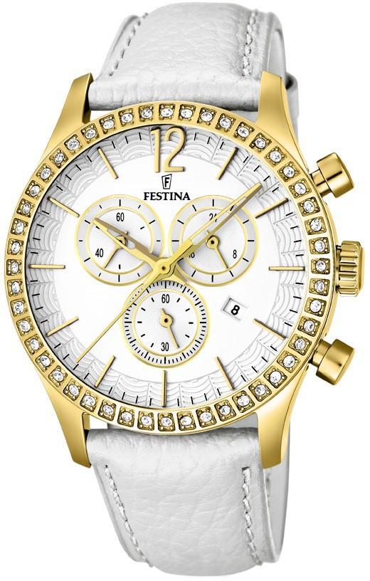 Festina F16605.1 - женские наручные часы из коллекции FashionFestina<br><br><br>Бренд: Festina<br>Модель: Festina F16605/1<br>Артикул: F16605.1<br>Вариант артикула: None<br>Коллекция: Fashion<br>Подколлекция: None<br>Страна: Испания<br>Пол: женские<br>Тип механизма: кварцевые<br>Механизм: Miyota FS00<br>Количество камней: None<br>Автоподзавод: None<br>Источник энергии: от батарейки<br>Срок службы элемента питания: None<br>Дисплей: стрелки<br>Цифры: арабские<br>Водозащита: WR 50<br>Противоударные: None<br>Материал корпуса: нерж. сталь, PVD покрытие: позолота (полное)<br>Материал браслета: кожа<br>Материал безеля: None<br>Стекло: минеральное<br>Антибликовое покрытие: None<br>Цвет корпуса: None<br>Цвет браслета: None<br>Цвет циферблата: None<br>Цвет безеля: None<br>Размеры: 41x12 мм<br>Диаметр: None<br>Диаметр корпуса: None<br>Толщина: None<br>Ширина ремешка: None<br>Вес: None<br>Спорт-функции: секундомер<br>Подсветка: None<br>Вставка: кристаллы Swarovski<br>Отображение даты: число<br>Хронограф: есть<br>Таймер: None<br>Термометр: None<br>Хронометр: None<br>GPS: None<br>Радиосинхронизация: None<br>Барометр: None<br>Скелетон: None<br>Дополнительная информация: элемент питания SR626SW, срок службы батарейки 2 года<br>Дополнительные функции: второй часовой пояс