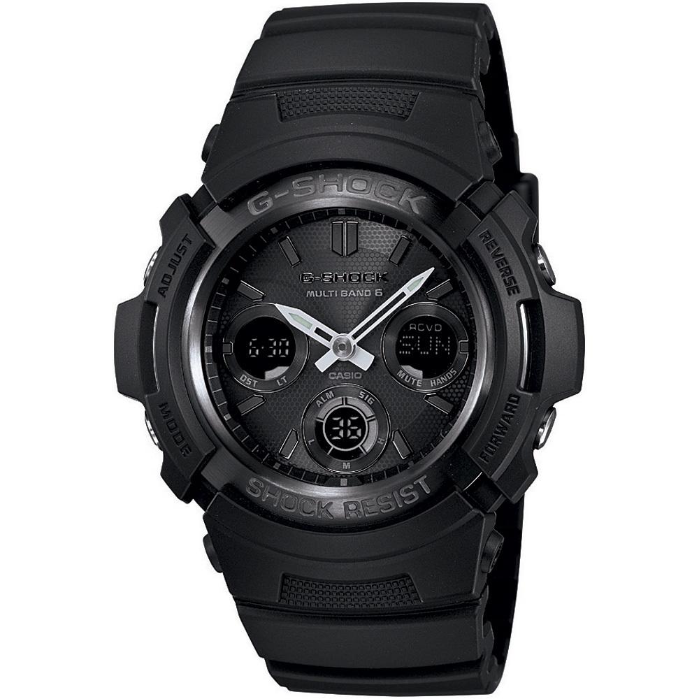 Casio G-SHOCK AWG-M100B-1A / AWG-M100B-1AER - мужские наручные часыCasio<br><br><br>Бренд: Casio<br>Модель: Casio AWG-M100B-1A<br>Артикул: AWG-M100B-1A<br>Вариант артикула: AWG-M100B-1AER<br>Коллекция: G-SHOCK<br>Подколлекция: None<br>Страна: Япония<br>Пол: мужские<br>Тип механизма: кварцевые<br>Механизм: None<br>Количество камней: None<br>Автоподзавод: None<br>Источник энергии: от солнечной батареи<br>Срок службы элемента питания: None<br>Дисплей: стрелки + цифры<br>Цифры: отсутствуют<br>Водозащита: WR 200<br>Противоударные: есть<br>Материал корпуса: нерж. сталь + пластик<br>Материал браслета: каучук<br>Материал безеля: None<br>Стекло: минеральное<br>Антибликовое покрытие: None<br>Цвет корпуса: None<br>Цвет браслета: None<br>Цвет циферблата: None<br>Цвет безеля: None<br>Размеры: 46.4x52x14.9 мм<br>Диаметр: None<br>Диаметр корпуса: None<br>Толщина: None<br>Ширина ремешка: None<br>Вес: 56.4 г<br>Спорт-функции: секундомер, таймер обратного отсчета<br>Подсветка: дисплея, стрелок<br>Вставка: None<br>Отображение даты: вечный календарь, число, месяц, день недели<br>Хронограф: None<br>Таймер: None<br>Термометр: None<br>Хронометр: None<br>GPS: None<br>Радиосинхронизация: None<br>Барометр: None<br>Скелетон: None<br>Дополнительная информация: функция включения/отключения звука кнопок, коррекция времени по радиосигналу (для России данная функция работает в дальневосточных областях и в Ленинградской области)<br>Дополнительные функции: индикатор запаса хода, второй часовой пояс, будильник (количество установок: 5)